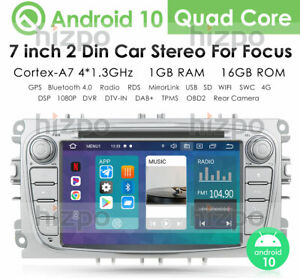 """7"""" Android 10.0 Silver GPS Radio Sat Nav BT WiFi DAB Stereo For Ford Mondeo Mk4"""