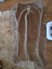 BARNSTABLE RIDING WOMENS TAN LEATHER WESTERN CHAPS W/FRINGE SIZE LARGE