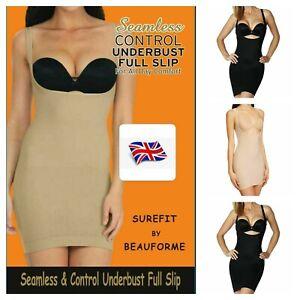 Ladies Women Underbust Seamless Tummy Control Bodyshaper Full Slip Uk Size S-xxl