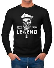 Herren Longsleeve Totenkopf Kapitän Skull Captain Langarmshirt Moonworks®