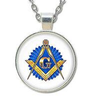 Masonic Glass Necklace Pendant with Masonic Symbol on Blue Seal / Free Mason