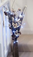 WBrown Rose Bouquet in FREE wood vase (20 LED lights) conservatory, lounge home
