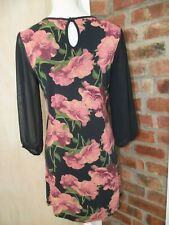 NEXT Size 10 Navy Floral Mini Dress Tunic Long top, Stretch , Voile 3/4 Sleeves