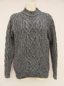 Aubin & Wills - Mens Wool / Cashmere Blend Cable Knit Black Mix Jumper - size L