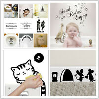 Lovely Bathroom Toilet Stickers Home Decorative Removable Vinyl Wall Decal Funny