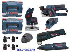 Bosch GHO12V-20 Akku Hobel + GKF12V-8 Kantenfräse + GOP12V-28 + GRO12V-35 + Akku