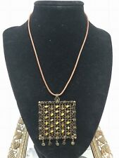 Sorrelli Leather Large Square Beaded Medallion Necklace Sorrelli Jewelry