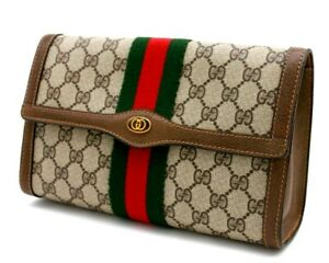 【Rank A】 Authentic Gucci GG Supreme Sherry Clutch Hand Bag Second Brown Vintage