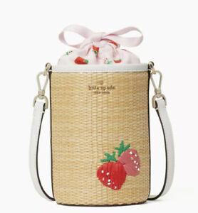 kate spade wild strawberries 🍓strawberry straw cylinder crossbody bag Purse NWT