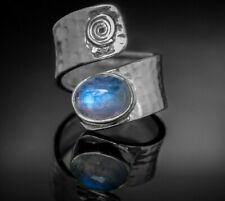 Gorgeous Moonstone 925 Sterling Silver Gemstone Adjustable Ring Boxed