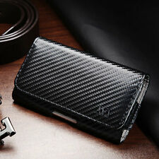 Samsung Galaxy S7 Edge - Carbon Fiber Belt Clip Horizontal Pouch Holster Case