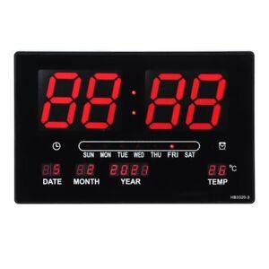 Digital Home Temperature Large Big Jumbo LED Wall Desk Clock With Calendar