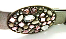 Silver faux leather belt, large oval metal buckle rhinestones, pink stones UK 14