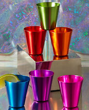 SET OF 6 RETRO ALUMINUM PRECHILLABLE SHOT GLASSES BARWARE FOR OUTDOORS BAR PARTY