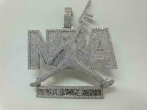 "Awesome Pave Set Shiny White CZ ""NBA"" Never Broke Again Hip-Hop Men's Pendant"