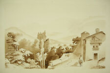 Sign Louis Plivard Paysage méditerranéen lavis original 1869 école Polytechnique