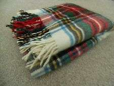 Vintage Quality Traditional Tartan Thick Pure Wool Travel Rug Blanket