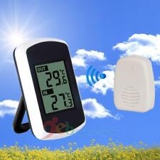 Wireless Digital Thermometer Clock Weather Home Temperature Test Indoor/Outdoor