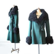 Vintage 60s Mongolian Tibetan Curl Lamb fur coat green wool dress coat jacket M