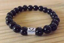 Black Onyx 8mm Gemstone Beads Zodiac Sign Mala Bracelet Yoga Stacking Bracelet