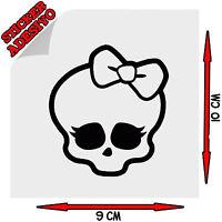 Sticker Adesivo Prespaziato Decal Skull Teschio #1 con Fiocco Auto Scooter Moto