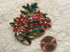 Christmas Bell Pin/ Brooch- red / green