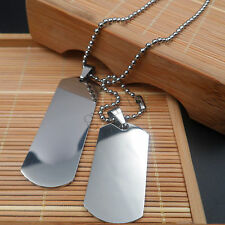 2x Military Army Dog Tag Real Mens Stainless Steel Pendant Ball Bead necklace
