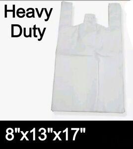 "HEAVY DUTY 400x WHITE PLASTIC VEST BOTTLE CARRIER BAGS (8""x13""x17"")"