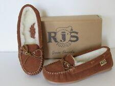 RJ'S Fuzzies Genuine Sheepskin Lined Suede Indoor/Outdoor Moc Slippers size 7