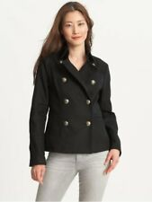 Banana Republic Black Military Double Breasted Brass Button Jacket Coat 12