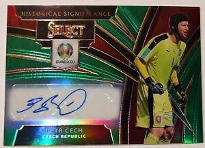 2020 Select Soccer UEFA EURO Petr Cech Historical Auto Green Prizm Refractor /15