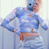 Angel Print Perspective Long Sleeve Women T-Shirt Slim Turtleneck Crop Top Apt
