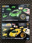 Happy Well 2 x 64pc Lamborghini Murciélago & Veneno 1:32 3D Puzzle Jigsaw Cars