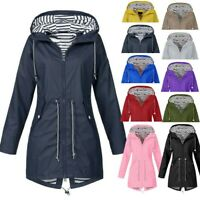Women Lady Rain Jacket Outdoor Plus Size Waterproof Hooded Windproof Loose Coat