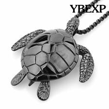 Men's New Sea Turtle Pendant  Stainless Steel  Necklace Chain Colorful Jewelry
