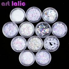 12 Pots White 3D Nail Art Sequins Glitter Shapes Foil Pearl Gems Beads DIY