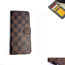 Luxury Grid Deluxe Leather Wallet Flip Case Cover For Apple iphone