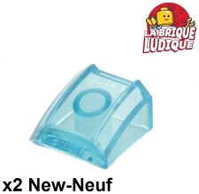 Lego - 2x Slope curved pente courbe 2x2 lip bleu trans light blue 30602 NEUF