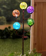 Solar 5-Light Colorful Crackled Glass Globe Ball Garden Yard Stake Outdoor Decor