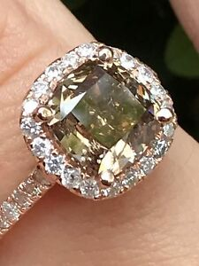 2.25 CT CHOCOLATE NATURAL Diamond Halo Engagement Ring Cushion SI1 14K Rose Gold