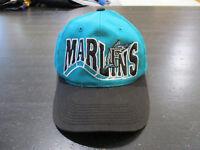 VINTAGE Florida Marlins Snap Back Hat Cap Teal Black MLB Baseball Spell Out 90s