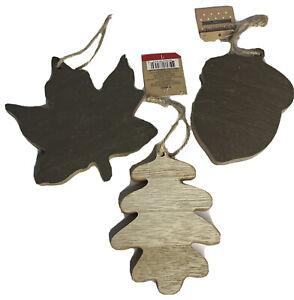 "3 Wood Oak Leaf Ornament 5.5"" Thanksgiving Fall Christmas Holiday Rustic"