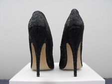 Cover girl 17 cm Sexy Black Glitter leather pumps high metal heels UK 10 43 44