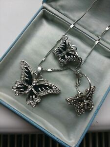 Silver Coloured Butterfly Pendant Necklace & Matching Earrings Set