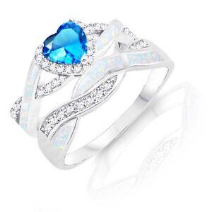 Blue Topaz Heart Infinity Celtic White Opal w CZ Engagement Silver Ring Set