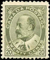 1904 Mint H Canada 20c F+ Scott #94 King Edward VII Issue Stamp