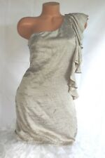 PAPAYA (M) Dress One Shoulder Side Ruffle Crushed Champagne Silky Sateen Lined