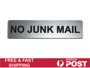 No Junk Mail Door Sign Engraved Plaque Letterbox Sign Self Adhesive Tape