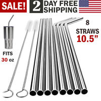 "10.5"" Reusable Stainless Steel Drinking Straws Metal for 30 Oz Yeti Rtic Tumbler"