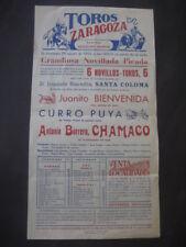 CARTEL TOROS ZARAGOZA 1954 JUANITO BIENVENIDA CURRO PUYA ANTONIO BORRERO CHAMACO